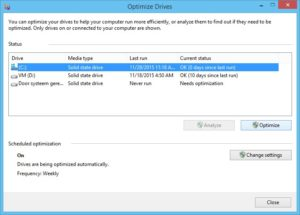 Windows optimize and defragment drive