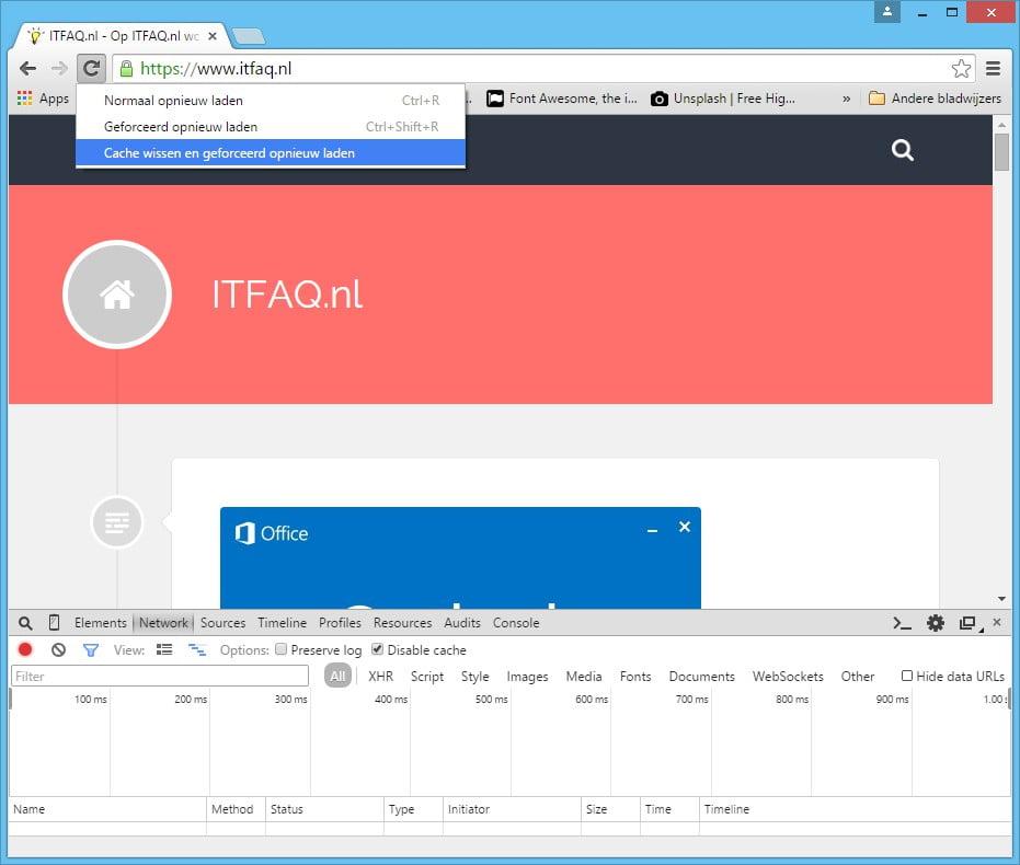 Chrome Cache wissen en geforceerd opnieuw laden