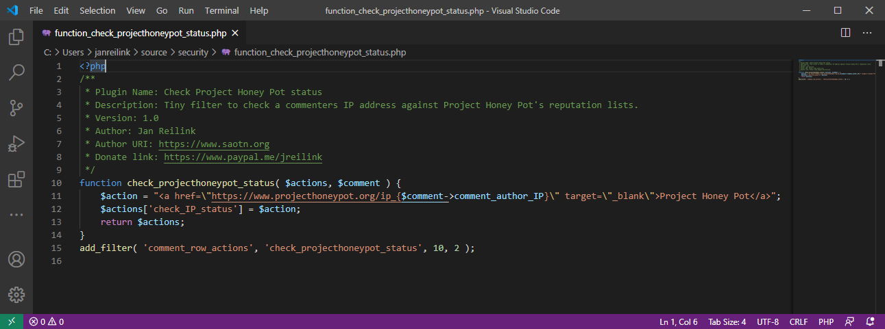 check Project Honey Pot IP status