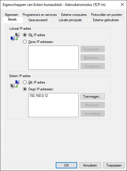 Extern Bureaublad - Gebruikersmodus (TCP-In) whitelist bereik